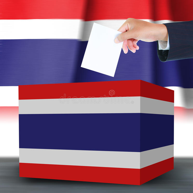 Download Hand With Ballot And Box On Flag Of Thailand Stock Photo - Image: 32040880