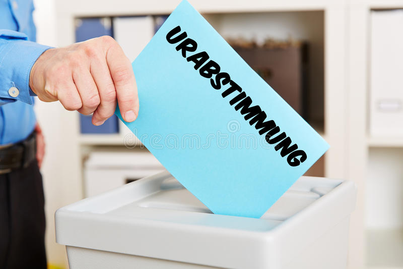 Hand with ballot for strike vote stock photo