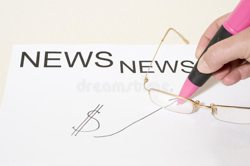 Download Hand With Ballpoint On News Board Stock Image - Image: 22580133