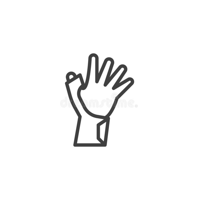 Hand with Bandage line icon. Linear style sign for mobile concept and web design. Orthopedic wrist brace outline vector icon. Symbol, logo illustration. Vector stock illustration