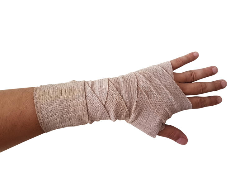 Hand bandage right hand male isolated stock photography
