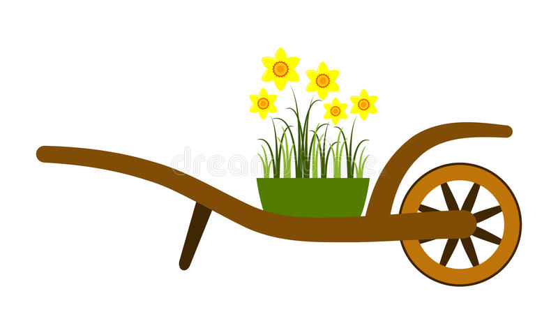 Download Hand Barrow And Daffodils Royalty Free Stock Images - Image: 25794639