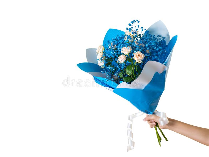 Hand with beautiful bright blue bouquet isolated on white background. A gift for a woman. Space for your text. royalty free stock photography