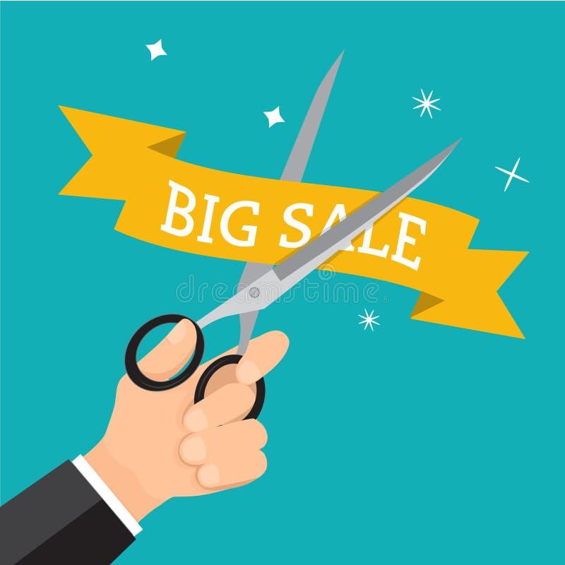 Hand bedrijfs scherpe prijs met schaar vector illustratie