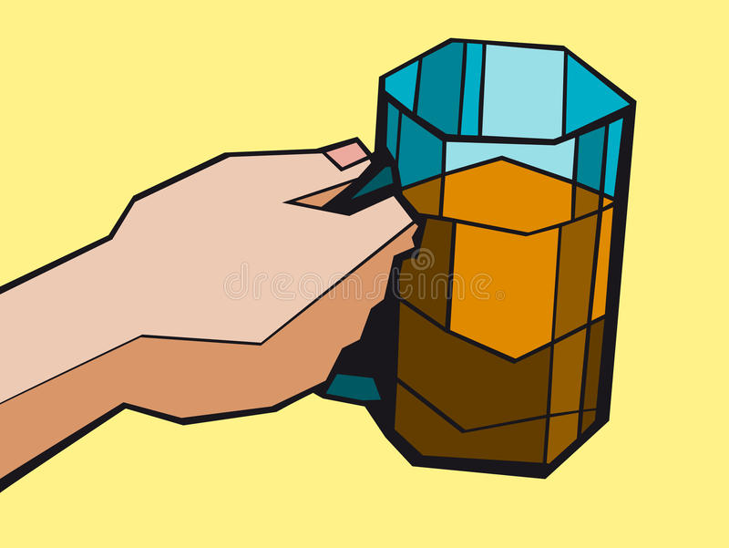 The hand with a beer mug