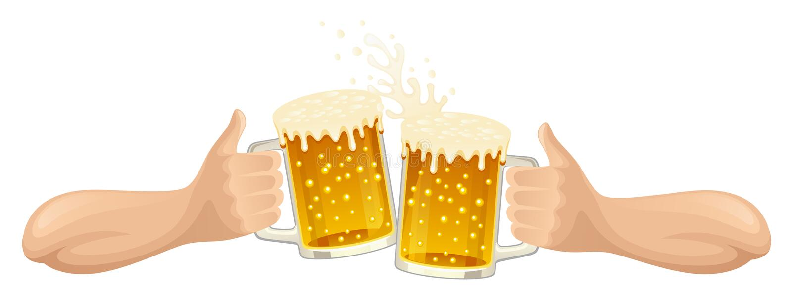 Hand with beer. On a white background royalty free illustration