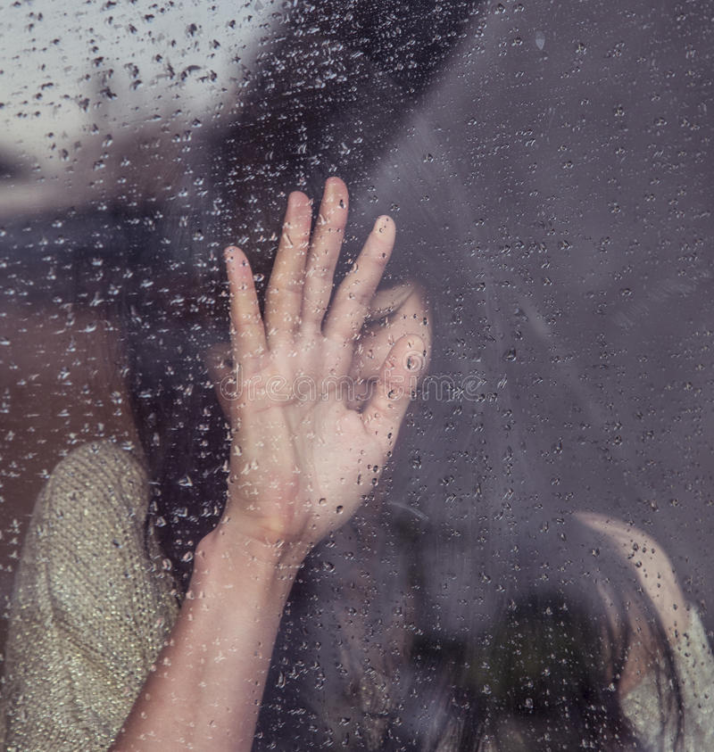 Hand Behind A Window With Rain Drops Free Public Domain Cc0 Image