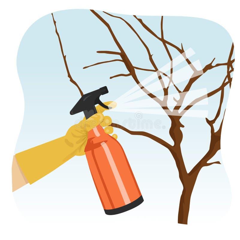 Hand bespuitende boom in tuin met het beschermen van nevel royalty-vrije illustratie