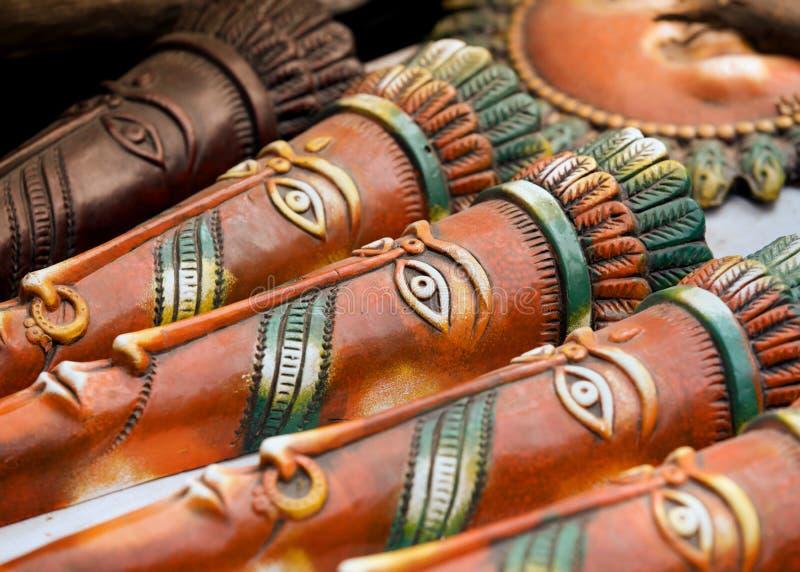 Hand bewerkte maskers stock foto