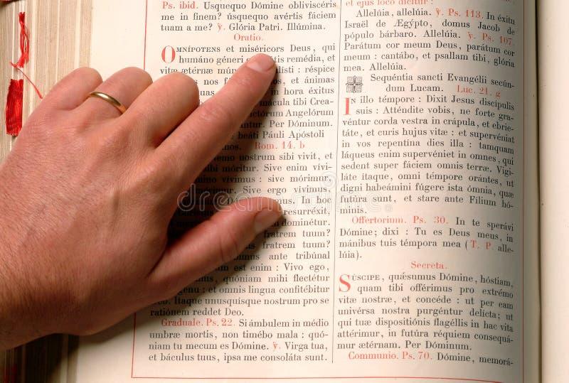 Hand and bible stock photos