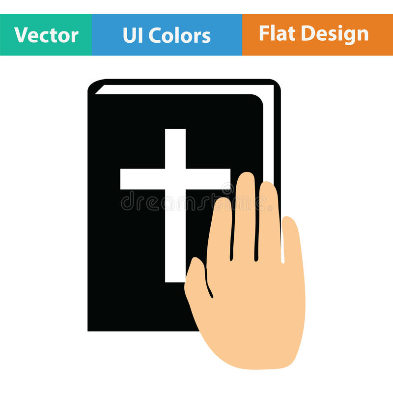Hand on Bible icon. Flat color design. Vector illustration royalty free illustration