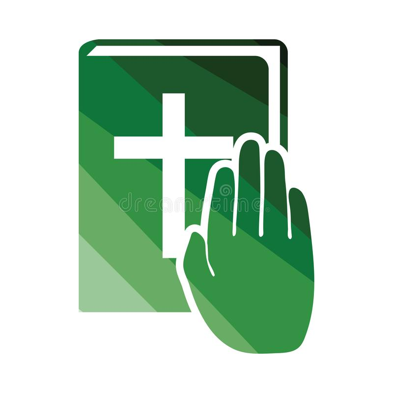 Hand on Bible icon. Flat color design. Vector illustration vector illustration