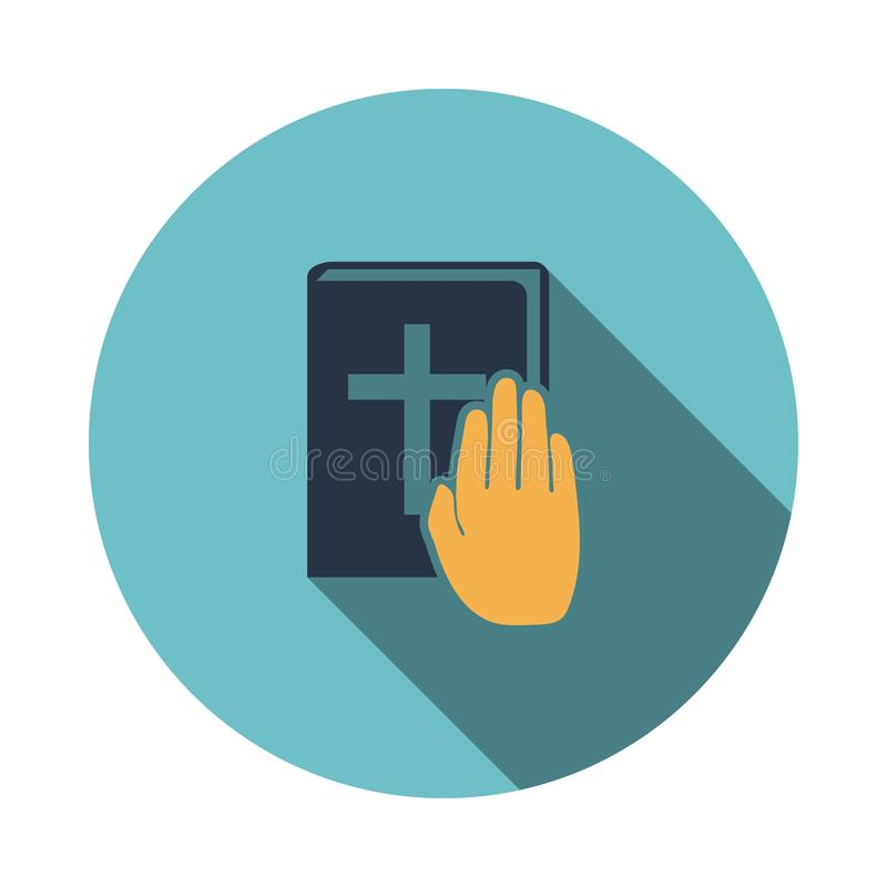 Hand on Bible icon. Flat Design Circle With Long Shadow. Vector Illustration stock illustration