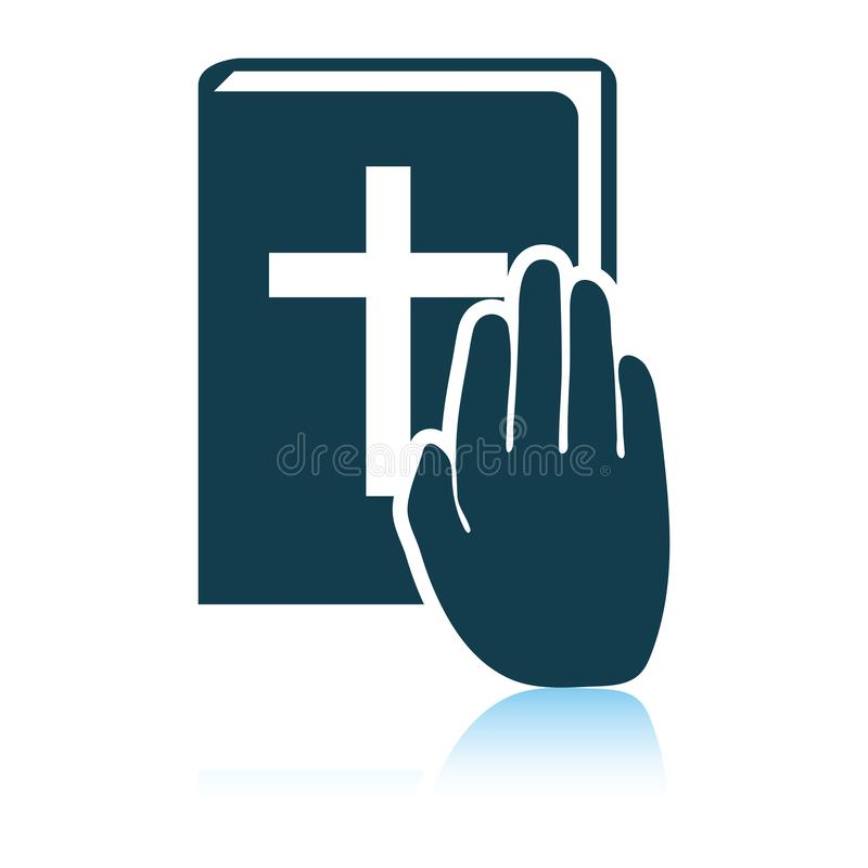 Hand on Bible icon. Shadow reflection design. Vector illustration vector illustration