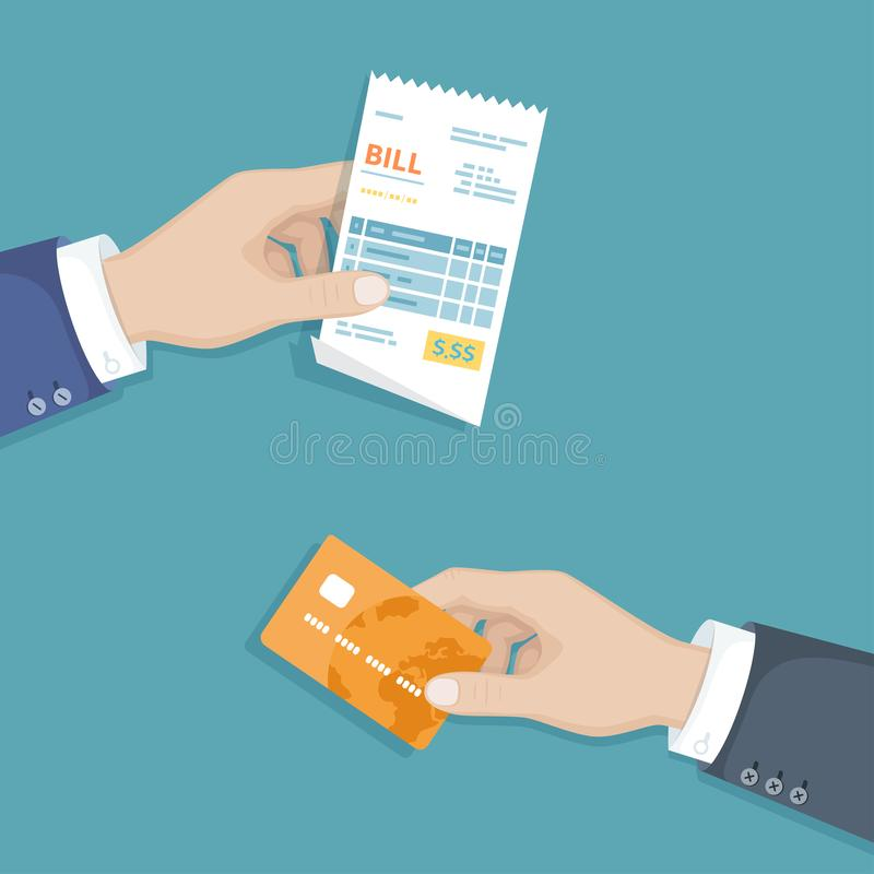 Hand with bill and credit card. Illustration sales shopping check, receipt, invoice, order. Paying bills. Payment of goods service. Hand with bill and credit royalty free illustration