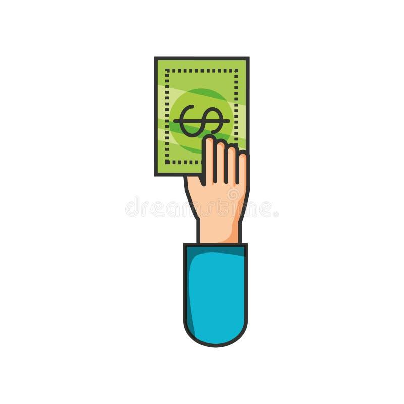 Hand with bill dollar money. Vector illustration design royalty free illustration