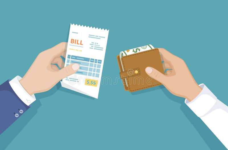 Hand with bill and wallet with money. Illustration sales shopping. Paying bills. Payment of goods, service, utility, restaurant. Vector design in a flat style stock illustration