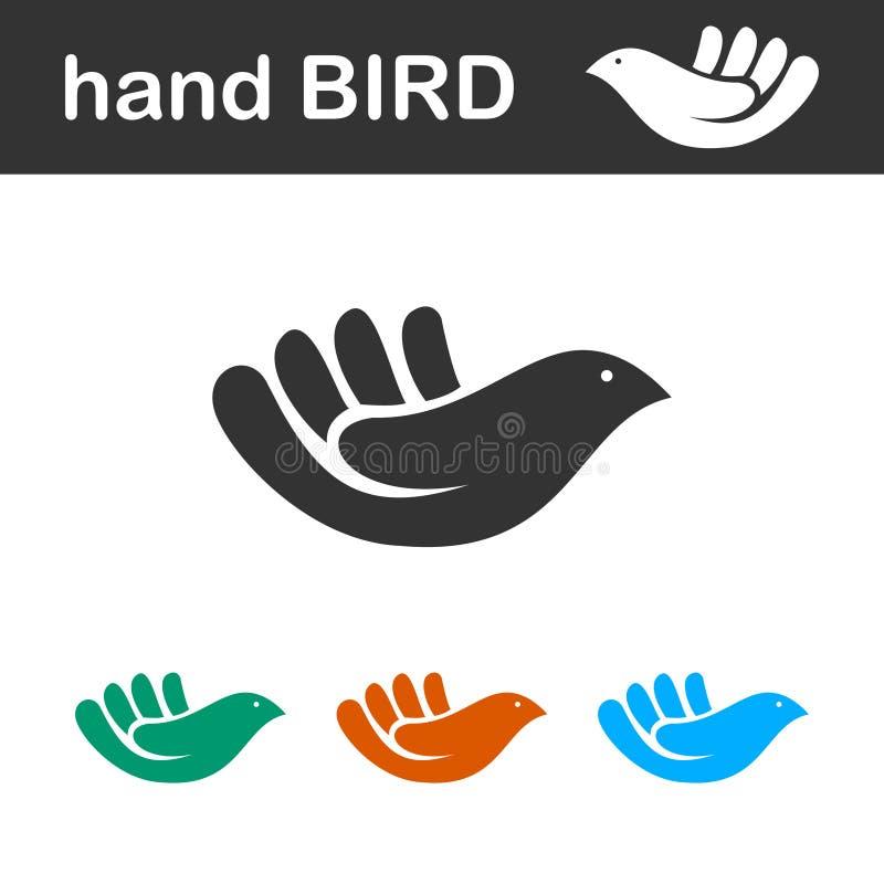 Hand bird cute icon isolated stock image