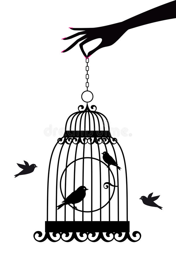 Download Hand with birdcage, stock vector. Image of animal, cute - 16150961