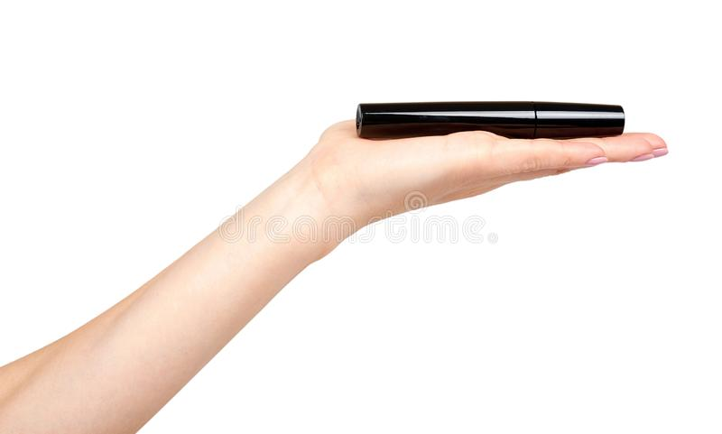 Hand with black mascara, eye makeup brush. Isolated on white background, beauty, bristles, lashes, wands, beautiful, body, care, caucasian, clean, cute, eyes stock photography