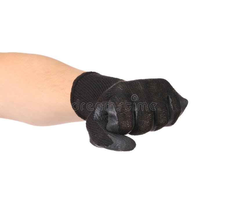 Hand in black protective glove. Isolated on a white background royalty free stock images