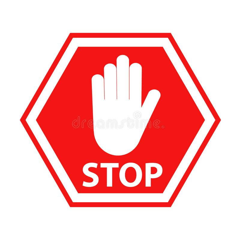 Hand blocking sign stop red on white, stock vector illustration. Eps 10 stock illustration