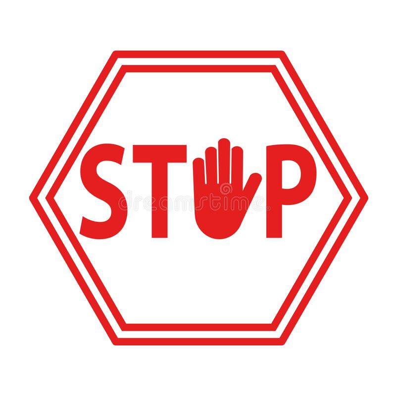 Hand blocking sign stop red on white, stock vector illustration. Eps 10 vector illustration