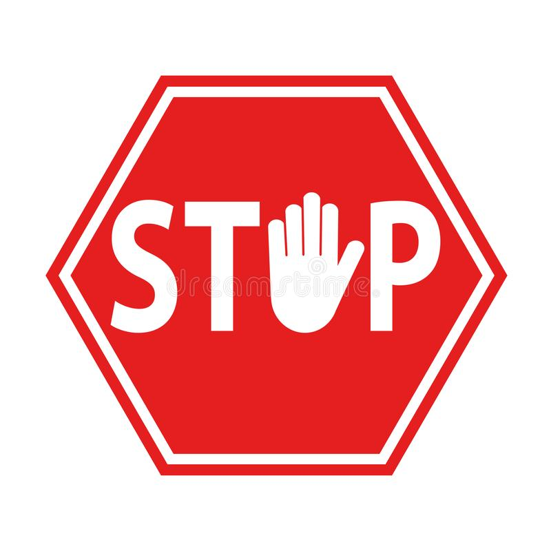 Hand blocking sign stop red on white, stock vector illustration. Eps 10 royalty free illustration