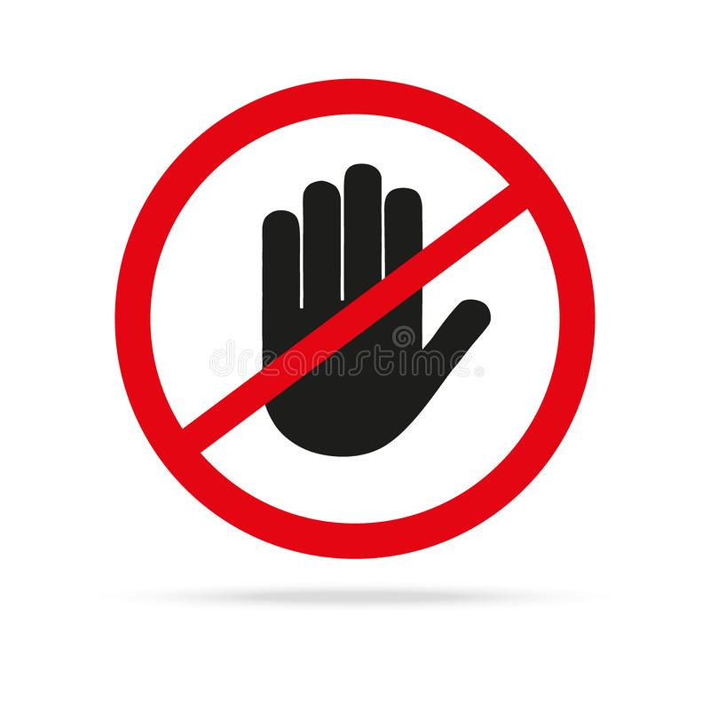 Hand blocking sign stop. Vector illustration. Web icon. For Web page royalty free illustration