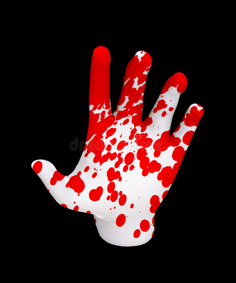Hand Of Blood. Pale hand covered in human blood stock illustration
