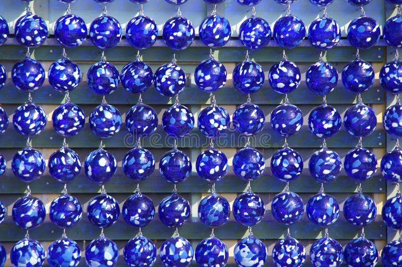 Hand blown blue glass bowls stock images
