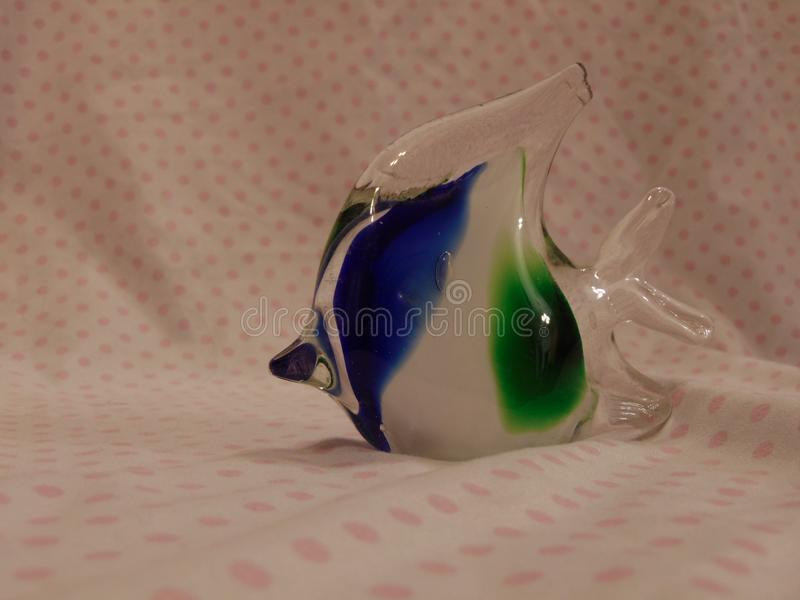 Hand Blown Glass Object in Blue & Green stock photo