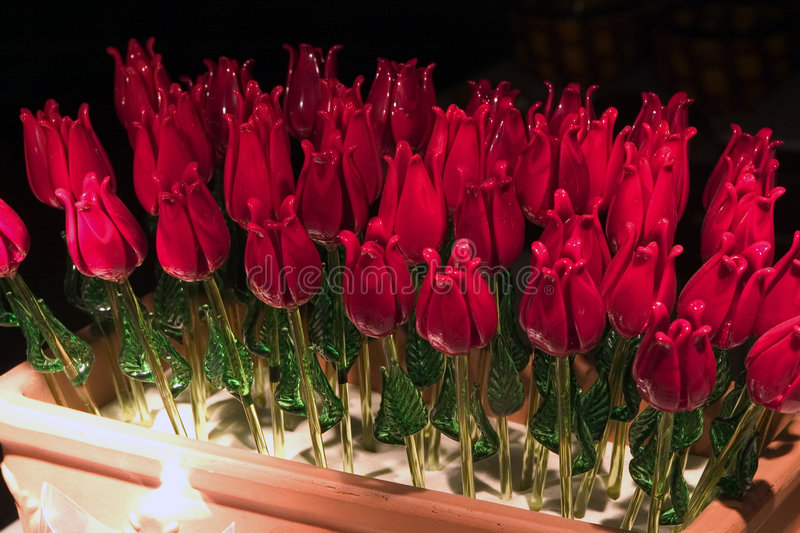 Hand blown glass roses, royalty free stock photos