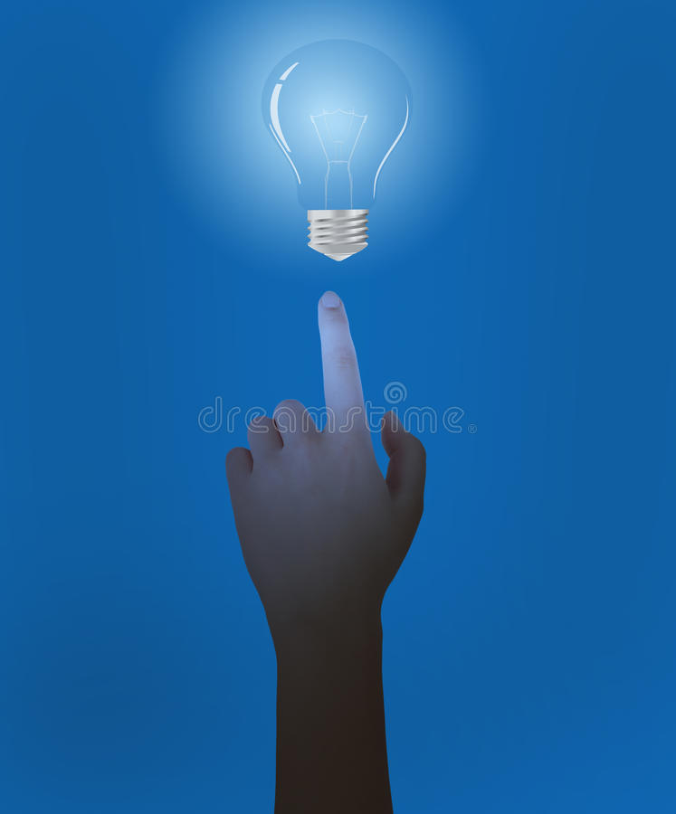 Download Hand And Blue Bulbs Stock Photos - Image: 29021603