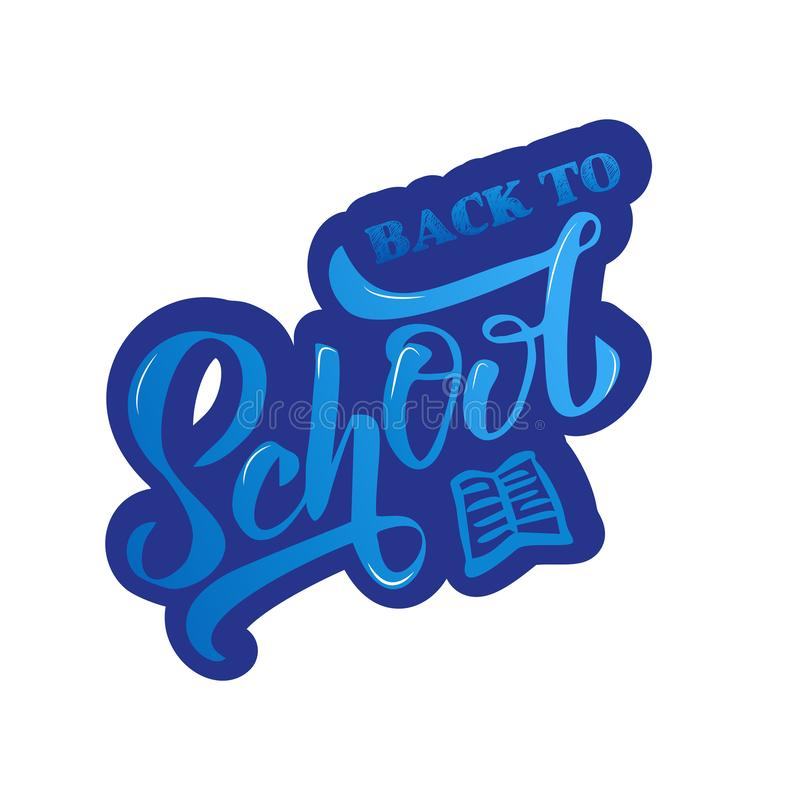 Hand blue gradient Back to school lettering with bold outline. Perfect design for logo, banner, flyer, card, greeting cards, stock illustration