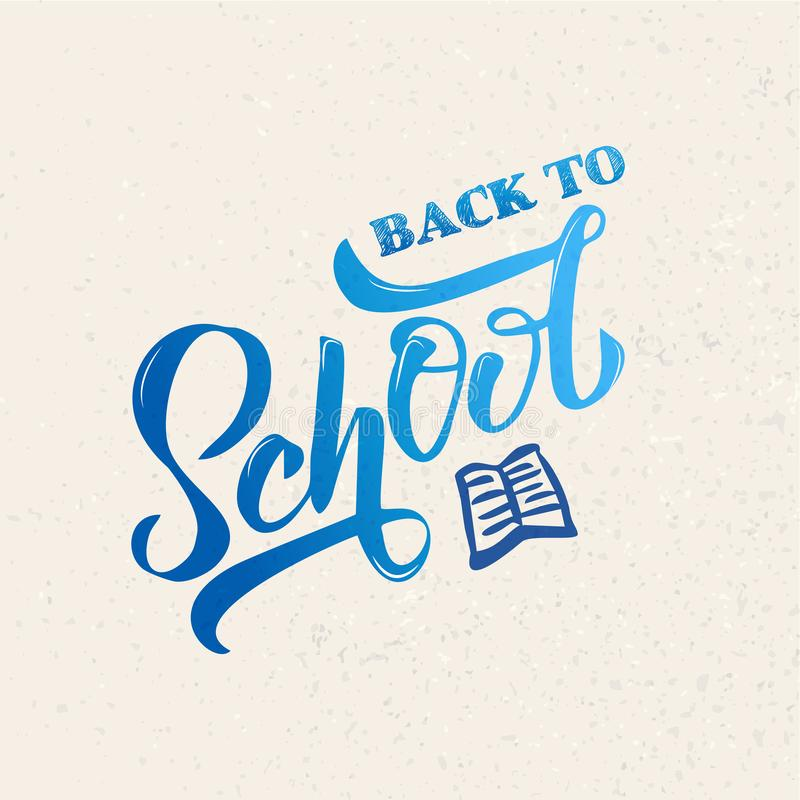 Hand blue gradient Back to school lettering on textures background. Perfect design for logo, banner, flyer, card, greeting cards, vector illustration