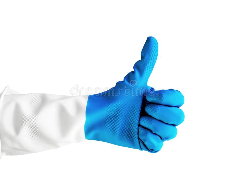 Hand in blue rubber glove, shows thumb up isolated on a white background for design, for medicine, cleaning, hitchhiking concept. Hand in blue rubber glove royalty free stock image