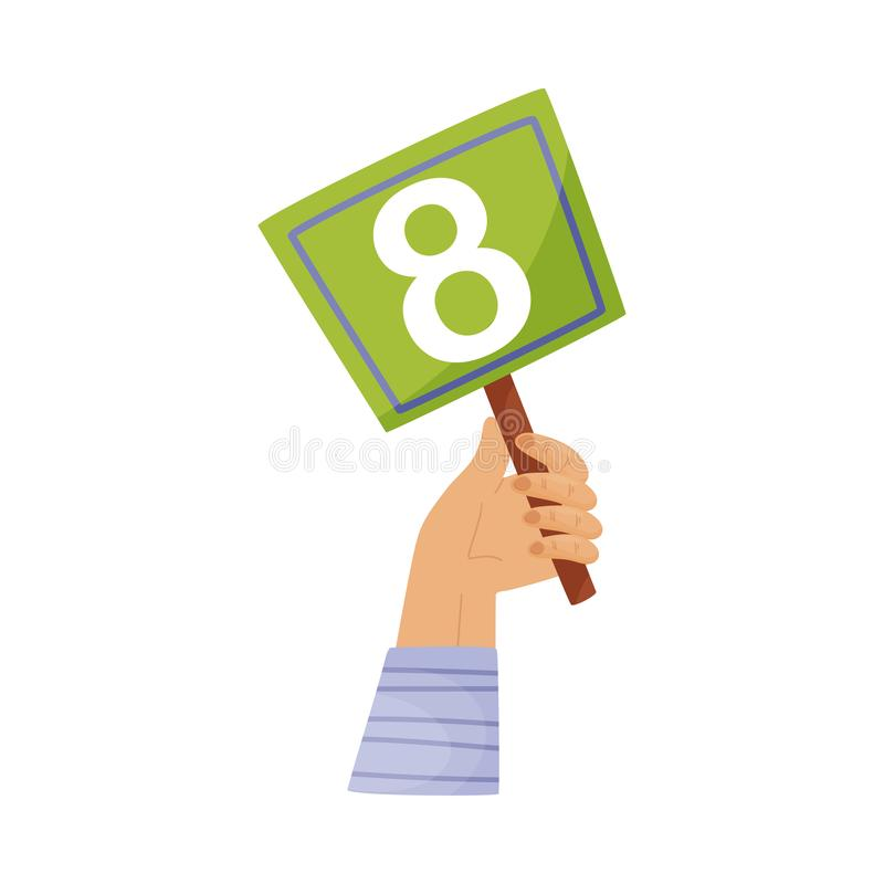 Square plate with the number 8 in hand. Vector illustration on a white background. Hand in a blue striped sleeve holds a square green plate with the number 8 vector illustration