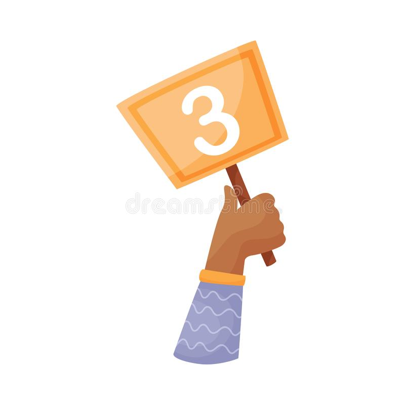Square plate with the number 3 in hand. Vector illustration on a white background. Hand in a blue striped sleeve holds a square orange plate with the number 2 royalty free illustration