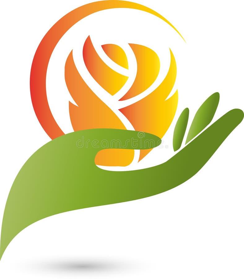 Hand, Blume, Rose, stock abbildung
