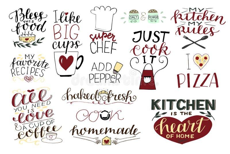 14 hand-bokstäver citationstecken om mat, kaffe, te, hemlagat kök Tillfoga papper Välsigna mat Toppen kock Laga mat precis det I royaltyfri illustrationer