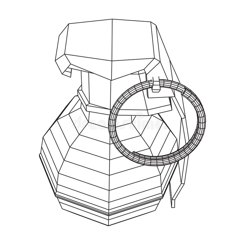 Vector hand bomb. Hand bomb frag grenade wireframe low poly mesh vector illustration royalty free illustration
