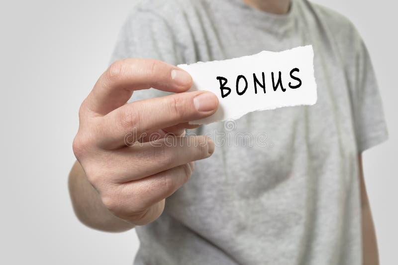 In hand bonuskaart royalty-vrije stock foto