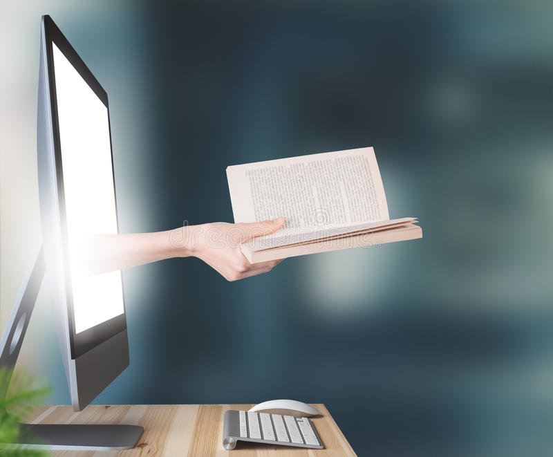 Hand with book comes out of computer, 3d render stock image