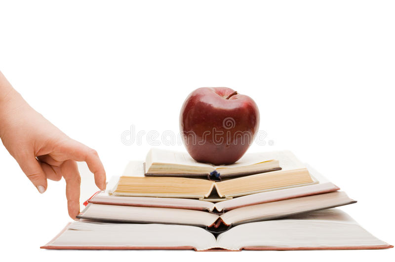 Hand and book stairs royalty free stock images