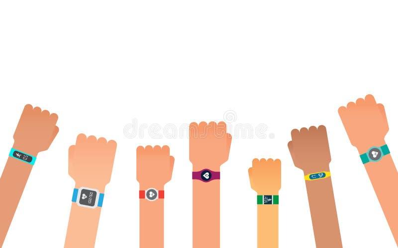 Hand bracelet, fitness gadget. Fitness tracker for sports. stock illustration