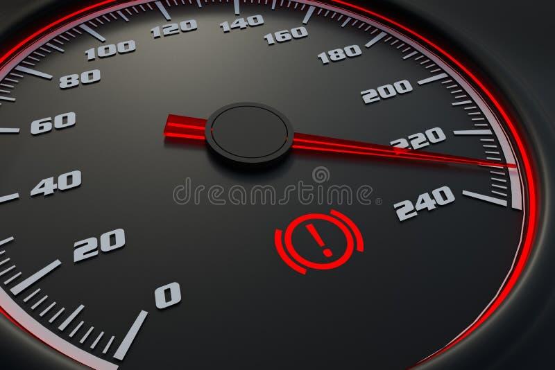 Hand brake light on car dashboard. 3D rendered illustration stock illustration