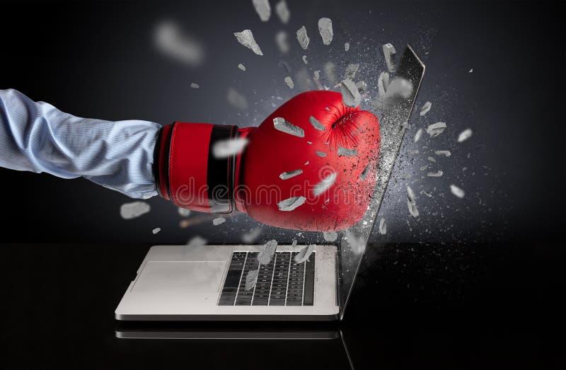 Hand breaks laptop screen. Strong male hand breaks laptop screen stock photography
