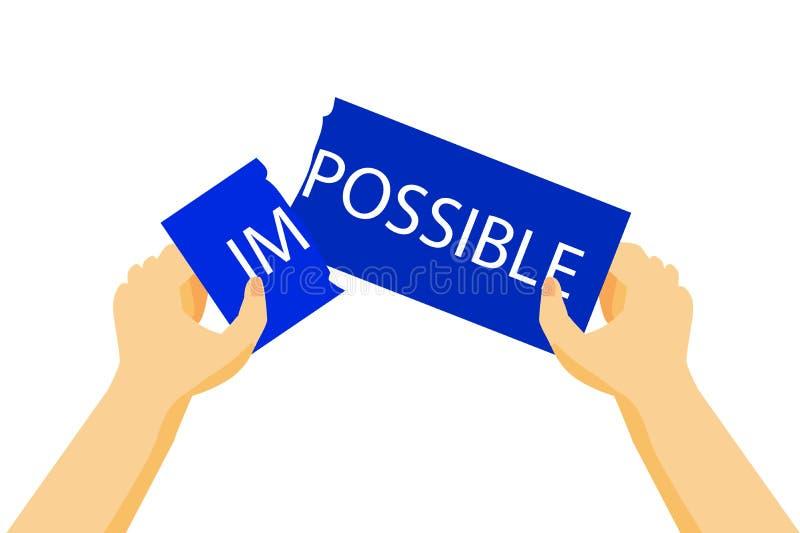 Hand - breek de Onmogelijkheid (Illustratie voor Onmogelijke Verandering aan Mogelijk Ding) stock illustratie