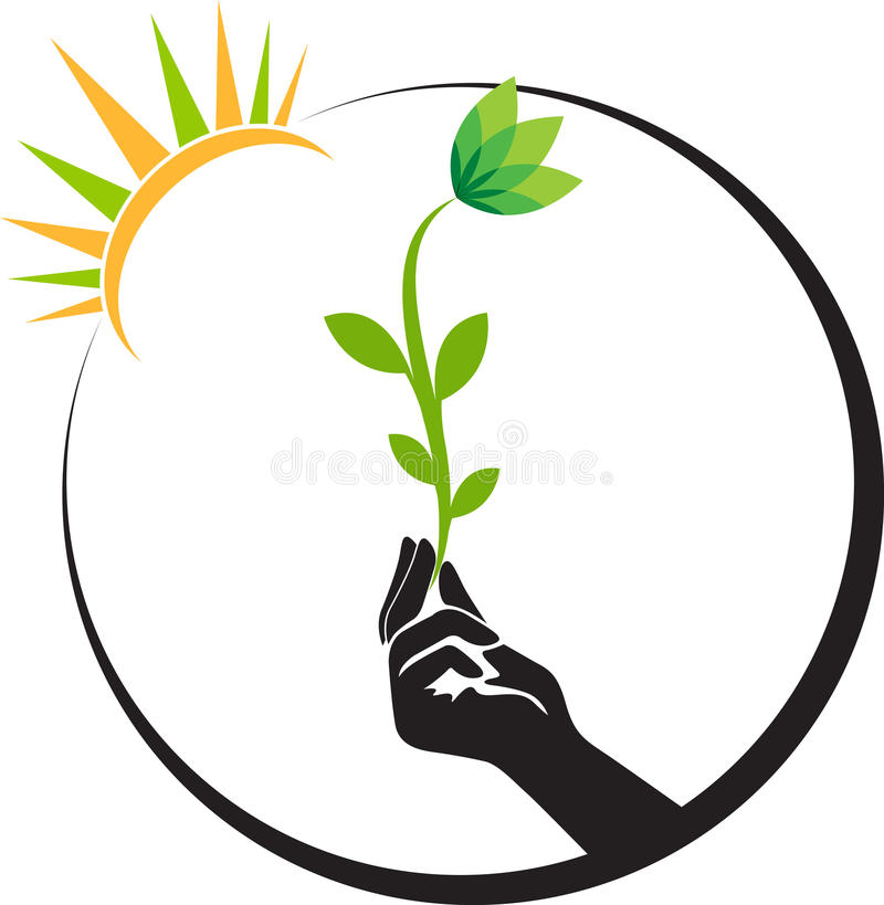 Hand bright flower stock illustration